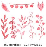 watercolor valentine branch.... | Shutterstock . vector #1244943892