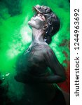 hot scary death bodyart woman... | Shutterstock . vector #1244963692