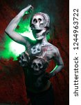 hot scary death bodyart woman... | Shutterstock . vector #1244963722