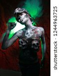 hot scary death bodyart woman... | Shutterstock . vector #1244963725