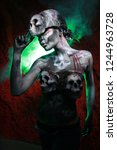 hot scary death bodyart woman... | Shutterstock . vector #1244963728