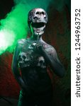 hot scary death bodyart woman... | Shutterstock . vector #1244963752