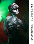 hot scary death bodyart woman... | Shutterstock . vector #1244963755