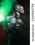 hot scary death bodyart woman... | Shutterstock . vector #1244963758