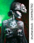 hot scary death bodyart woman... | Shutterstock . vector #1244963782
