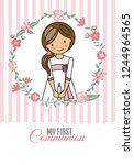 my first communion girl. pretty ... | Shutterstock .eps vector #1244964565