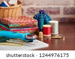 Stack Of Colorful Fabrics On...