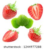 collection of strawberries.... | Shutterstock . vector #1244977288
