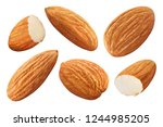 set of almonds  isolated on... | Shutterstock . vector #1244985205