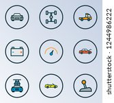 automobile icons colored line... | Shutterstock .eps vector #1244986222
