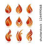 symbols red fire on white... | Shutterstock .eps vector #124499068