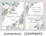wedding invitation leaves and... | Shutterstock .eps vector #1244998855