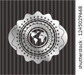 earth icon inside silver badge...   Shutterstock .eps vector #1245029668