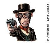 monkey gentleman holding a...   Shutterstock .eps vector #1245035665