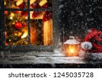 christmas photo of window sill...   Shutterstock . vector #1245035728