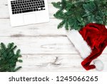 office workplace with keyboard...   Shutterstock . vector #1245066265