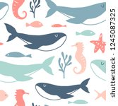 sea animals seamless pattern.... | Shutterstock .eps vector #1245087325