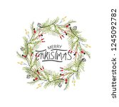 hand written christmas phrases... | Shutterstock .eps vector #1245092782