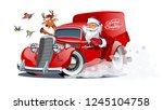 cartoon retro christmas... | Shutterstock .eps vector #1245104758