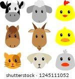 cute animal in farm | Shutterstock .eps vector #1245111052