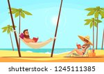 beach reading background with... | Shutterstock .eps vector #1245111385