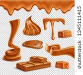 caramel toffee melted border... | Shutterstock .eps vector #1245111415