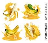 realistic banana juice splash... | Shutterstock .eps vector #1245111418