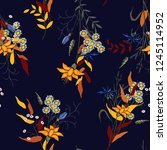 trendy floral pattern. isolated ... | Shutterstock .eps vector #1245114952