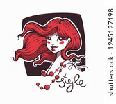 cute cartoon girl with red hair ...   Shutterstock .eps vector #1245127198