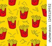 cute kids french fries pattern... | Shutterstock .eps vector #1245139552