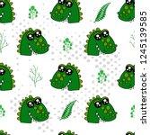 cute kids crocodile pattern for ... | Shutterstock .eps vector #1245139585