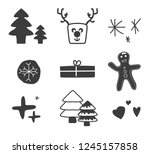 set icons christmas with... | Shutterstock .eps vector #1245157858