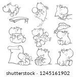 set of  cartoon illustration.... | Shutterstock . vector #1245161902
