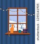 christmas window overlooking... | Shutterstock .eps vector #1245161905