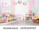elegant living room interior... | Shutterstock . vector #1245164545