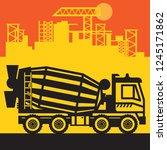 concrete mixer  construction... | Shutterstock .eps vector #1245171862