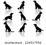 sitting dog silhouettes | Shutterstock . vector #124517956