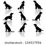 Stock photo sitting dog silhouettes 124517956