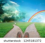 fork in the road choice concept  | Shutterstock . vector #1245181372