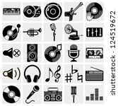 vector black music icons set on ...
