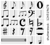 vector music note  icons set on ... | Shutterstock .eps vector #124519678