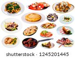 collection of various dishes... | Shutterstock . vector #1245201445