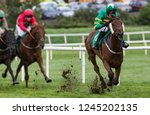 jockey and race horse taking... | Shutterstock . vector #1245202135