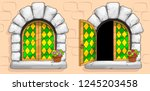 the windows of a medieval... | Shutterstock .eps vector #1245203458