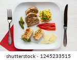 tasteful vegetarian dish served ... | Shutterstock . vector #1245233515