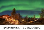 A log cabin in pine forest under Aurora borealis at YellowKnife, Canada