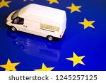 a removals van on the eu flag... | Shutterstock . vector #1245257125