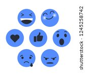 set of emoticon with emoji flat ... | Shutterstock .eps vector #1245258742