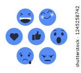 set of emoticon with emoji flat ... | Shutterstock .eps vector #1245258742