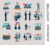conference icons flat | Shutterstock .eps vector #1245277588